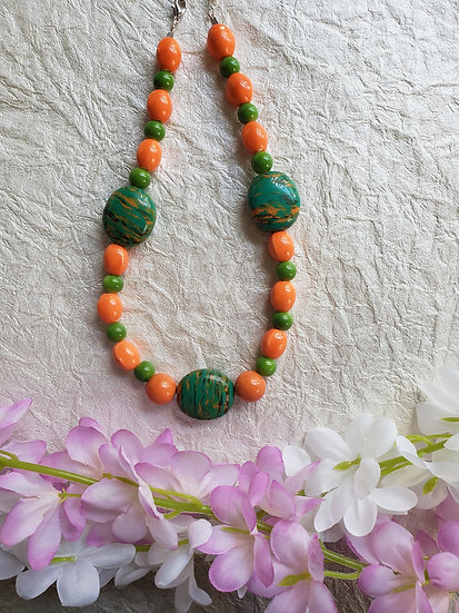 Orange and Teal Statement Necklace