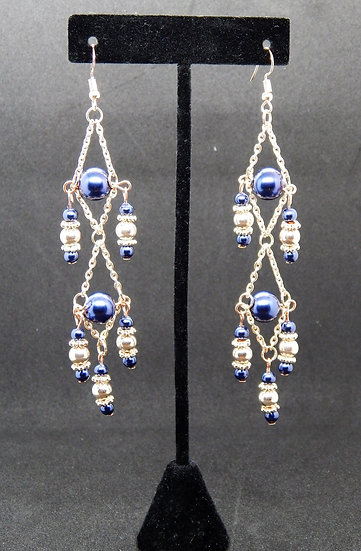 Rose Gold and Royal Blue Shimmer Drop Dangle Earrings