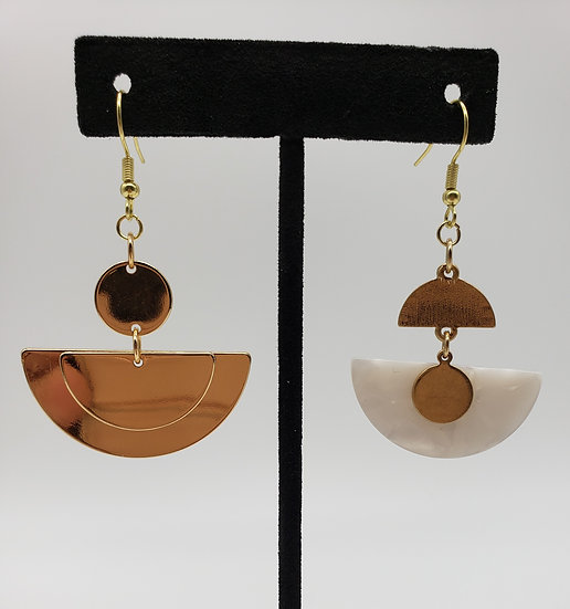 Gold and White Marble Miss-matched Dangle Earrings