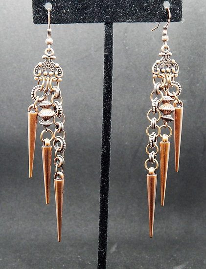 Funky Spiked Antique Copper Earring