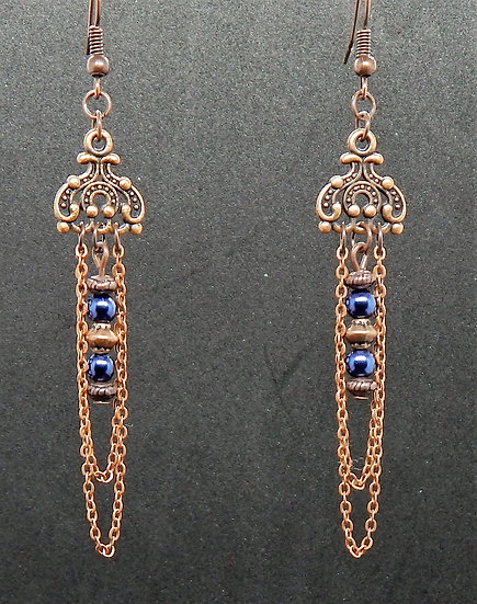 Petite Antique Copper and Royal Shimmering Blue Beaded Earrings