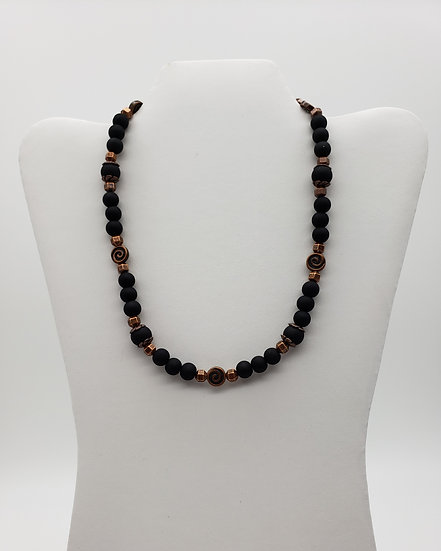Black Beads with Antique Copper Accents Single Strand Necklace