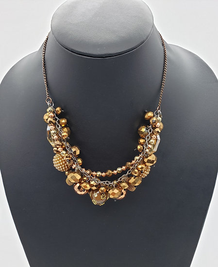 Warm Shimmering Browns and Golds Beaded 3 Strand Necklace
