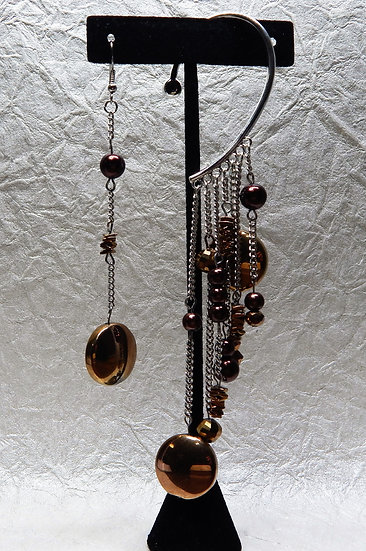 Asymmetrical Luminesce Golden Brown Earring Cuff and Matching Hooked Earring Set