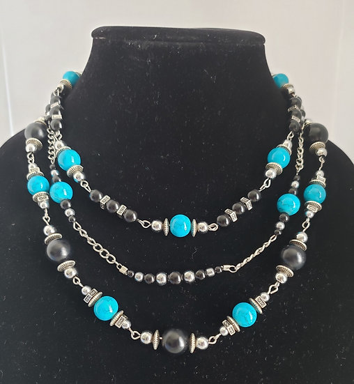 Turquoise, Black, and Silver 3 Tiered Necklace