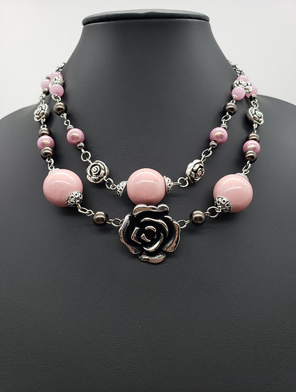 Silver Roses with Powder Pink Beads 2 Strand Necklace