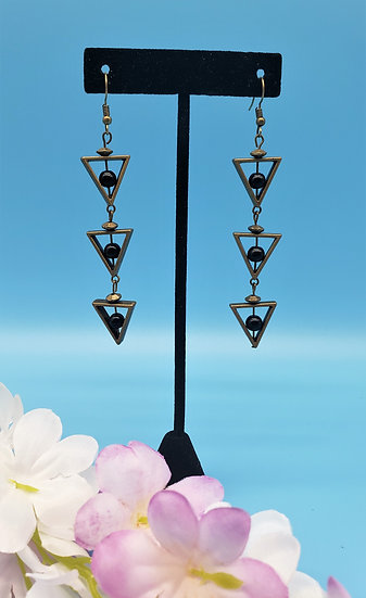 Gold and Black Bead Triangle Dangle Earring