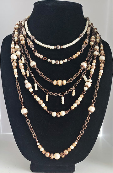 Antique Copper and Cream Pearl Statement Necklace