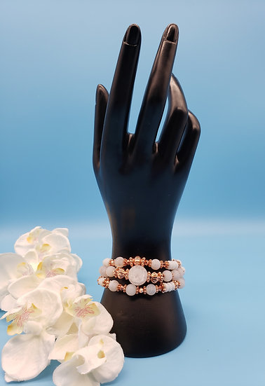 Rose Gold and White Marble Beads -3 Strand Necklace