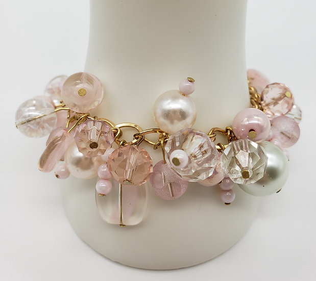 Soft Powder Pink Beads w/ a Splash of Crystal Charm Bracelet