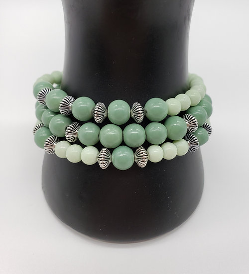 Mint Green and Silver 3 Strand Bracelet