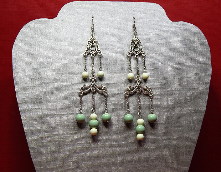 2 Toned and 2 Tiered Mint Green and Silver Chandelier Drop Earring