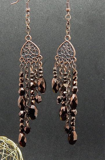 Antique Copper with Dark Golden Brown Crystal Chandelier Earrings
