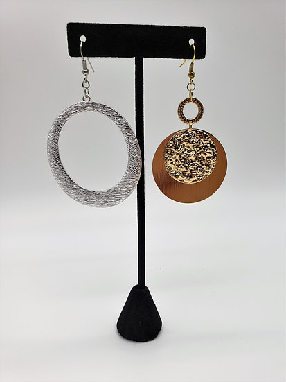 Gold and Silver Miss-matched Dangle Earrings