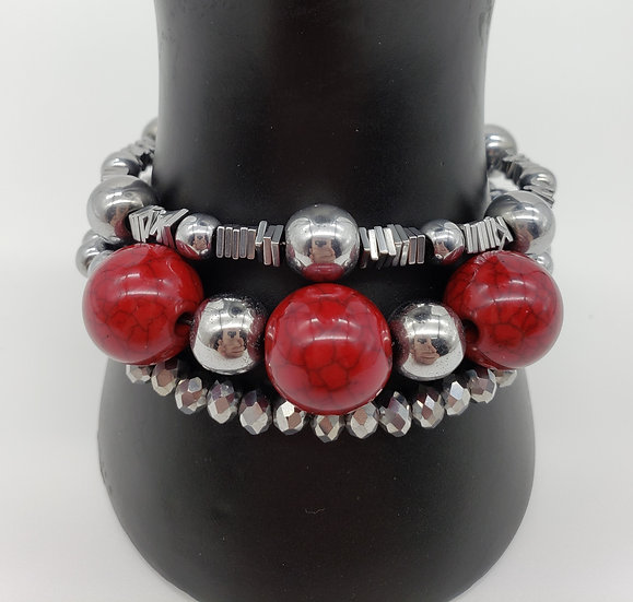 Bold Red Beads with Gorgeous Silver Accent 3 Strand Bracelet