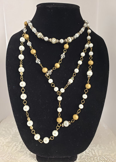 Asymmetrical Gold and Pearl Necklace