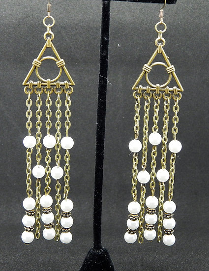 Antique Gold and Pearl Chandelier Earrings