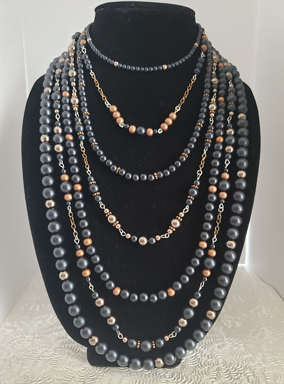 Black and Antique Copper 7 Tiered Statement Necklace