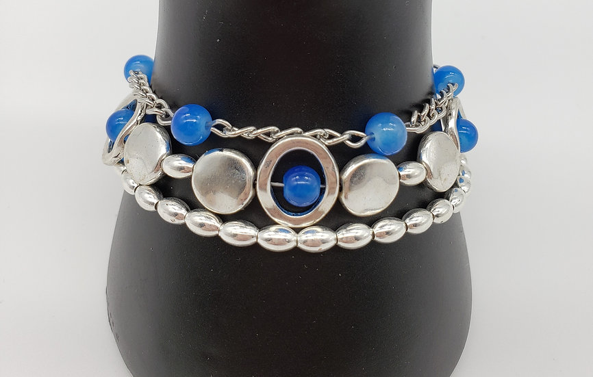 Blue and Silver 3 Bracelet Set - Mix and Match