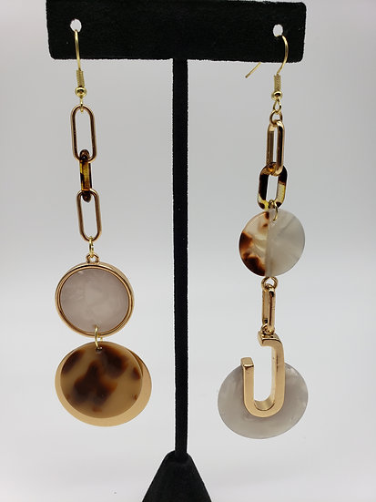 Tortoise and Gold Dangle Miss-matched Earrings