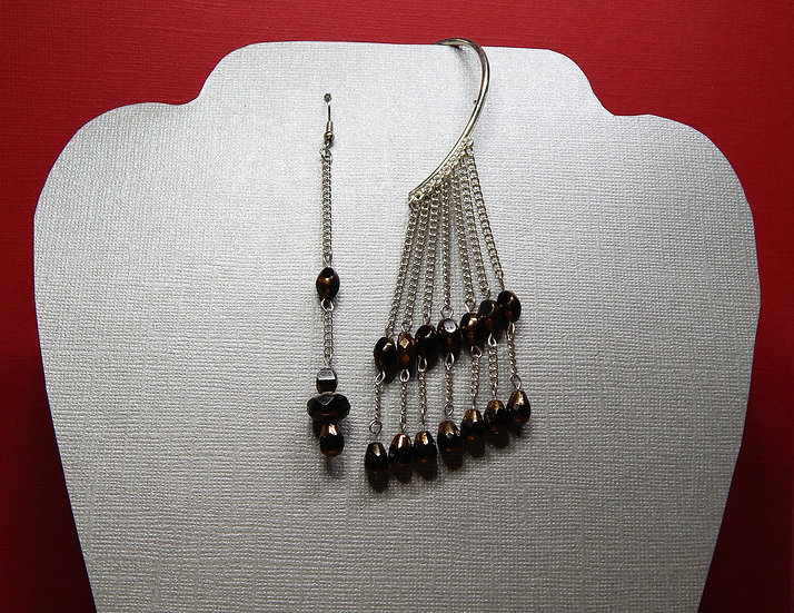 Dark Golden Brown Crystals with Silver Chain Earring Cuff and Earring Set