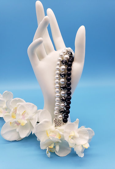 Black and White Pearls with Silver Accent 3 Strand Bracelet