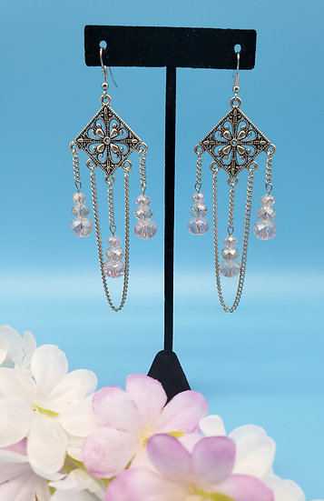 Powder Pink Crystal and Silver Chandelier Earrings