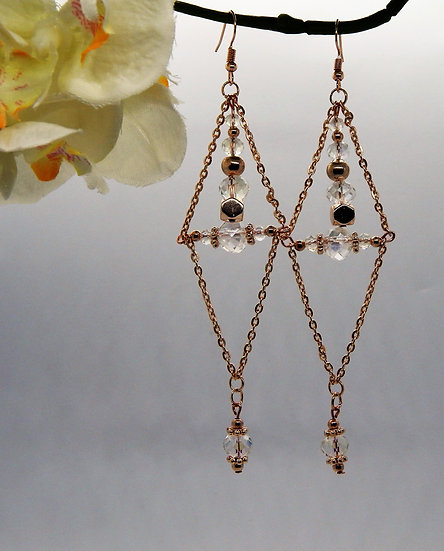 Rose Gold and Crystal Dangle Earrings