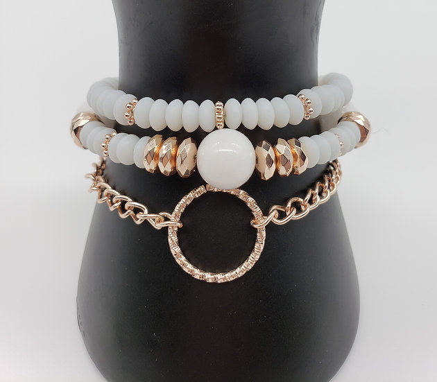 White and Rose Gold 3 Strand Bracelet (One of my FAVS!)