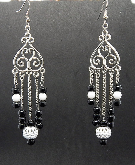 White and Black Beads with Silver Accent Chandelier Earrings