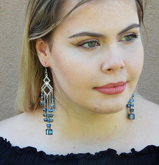 Stunning Baby Blue Crystal Chandelier Earrings