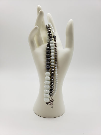 Grey and White Color Block Design with Silver Accent 3 Strand Bracelet