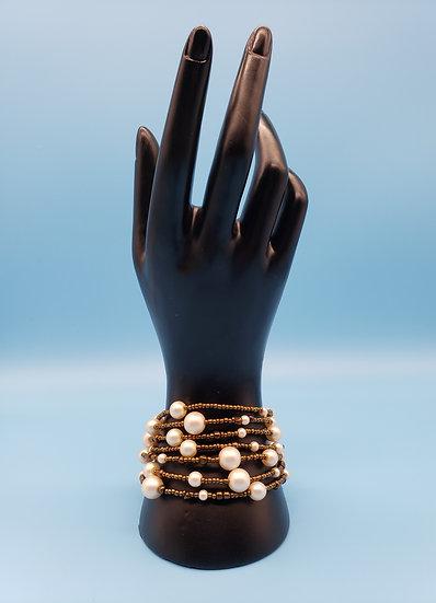 Pearls and Dark Gold 7 Strand Bracelet