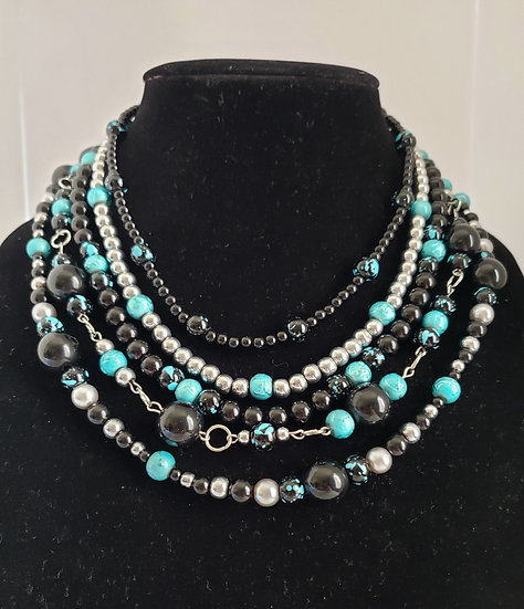 Shimmering Turquise and Black Beaded Statement Necklace