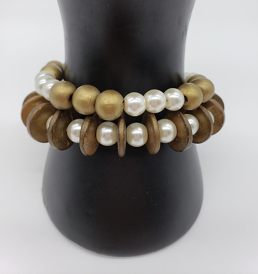 Pearl and Gold 2 Strand Bracelet (Classy Combination!)