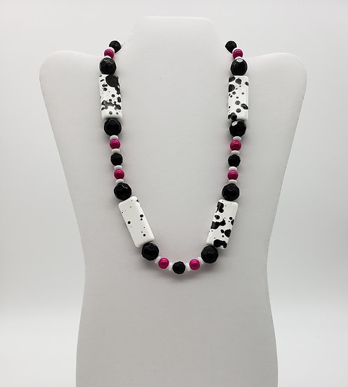Fun With Colors! Hot Pink, Black, & White w/ a Splash of Black on White Necklace