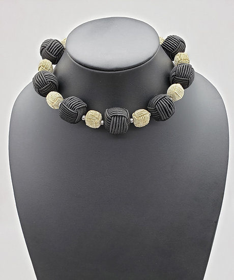 Black and White Cord Wrapped Beads Choker Necklace w/ Silver Accent