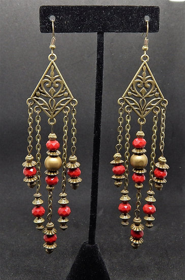 Antique Gold and Red Chandelier Earrings