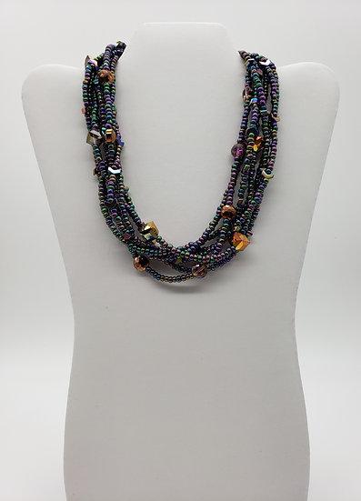 Iridescent Purple Multi-Strand Necklace