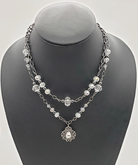 Crystal Pendant and Beads Accented w/ Gun Metal Silver 2 Strand Necklace