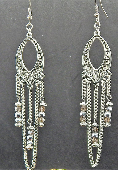 Silver and Golden Accented Crystal Earrings