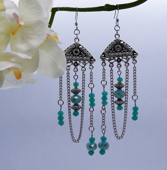 Silver and Baby Blue Chandelier Earrings