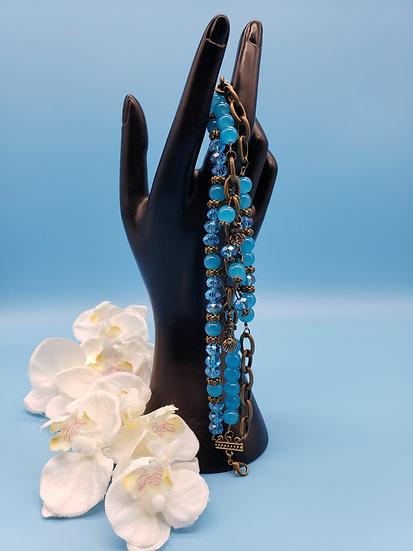 Blue & Antique Gold Adorned w/ Ocean Themed Charms - 3 Strand Bracelet