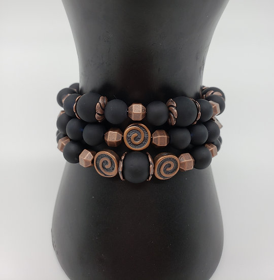 Black Beads with Antique Copper Accent 3 Bracelet Set - Mix and Match