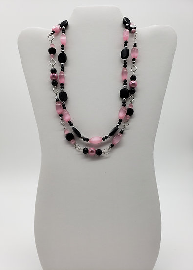 Powder Pink and Jet Black Beads with Silver Accent 2 Strand Necklace
