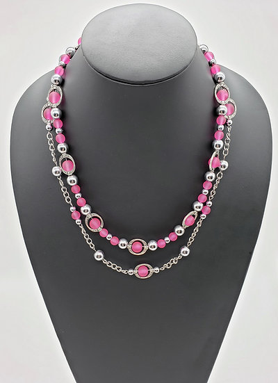 Semi-translucent Hot Pink Beads w/ Silver Accents & Chain 2 Strand Necklace