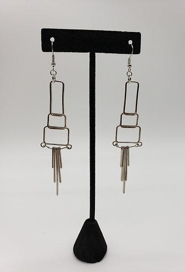 Silver Geometric Design Drop Dangle Earrings