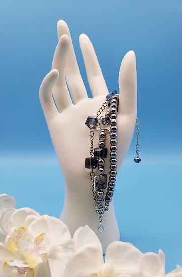 Baby Blue Crystal Beads with Silver Accent - 3 Tiered Bracelet