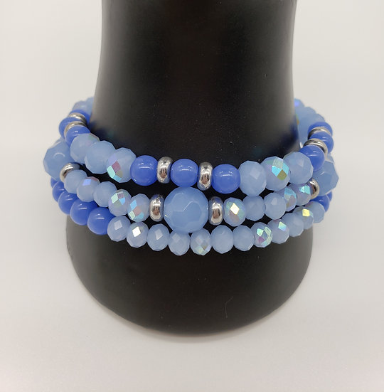 Powder Baby Blue and Silver 3 Strand Bracelet
