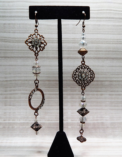 Asymmetrical Antique Copper and Glass Crystals